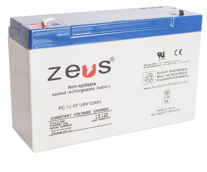 GUA 6V-12AH-SRB 6V 12A BATTERY #3 SEALED ZEUS PC12-6 cs=10 2 EXTERNAL POSTS/TABS