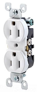 LEV 5320-WCP 15A, 125V, Duplex Receptacle, Residential Grade, Grounding, All Screws Backed Out, White cs=10/200