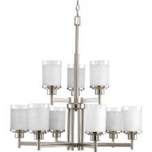 PRO P4626-09 9X100M Alexa Brushed Nickel White Linen Glass Chandelier