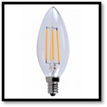ELG E12LED101 LED Filament Candle Clear Lamp 4W 2700K 300L DIM