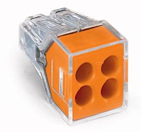 WAGO 773-164 (BOX) 4-CONDUCTOR - ORANGE PUSH WIRE WALL-NUT 18-12AWG SOL, 16-12AWG STR 100PC/BOX