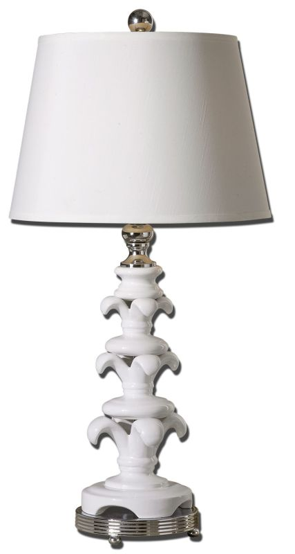 Uttermost 27485 Matthew Williams Civetta Lamp Glossy white ceramic base with polished, nickel plated, metal details. The round, hardback, straight sided shade is an off white linen fabric with light slubbing.