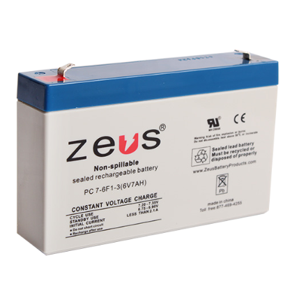 GUA 6V-7AH-SRB 6V 7A BATTERY #4 DG6-7 6V SEALED ZEUS PC7-6 cs=10 GS013P2 NP