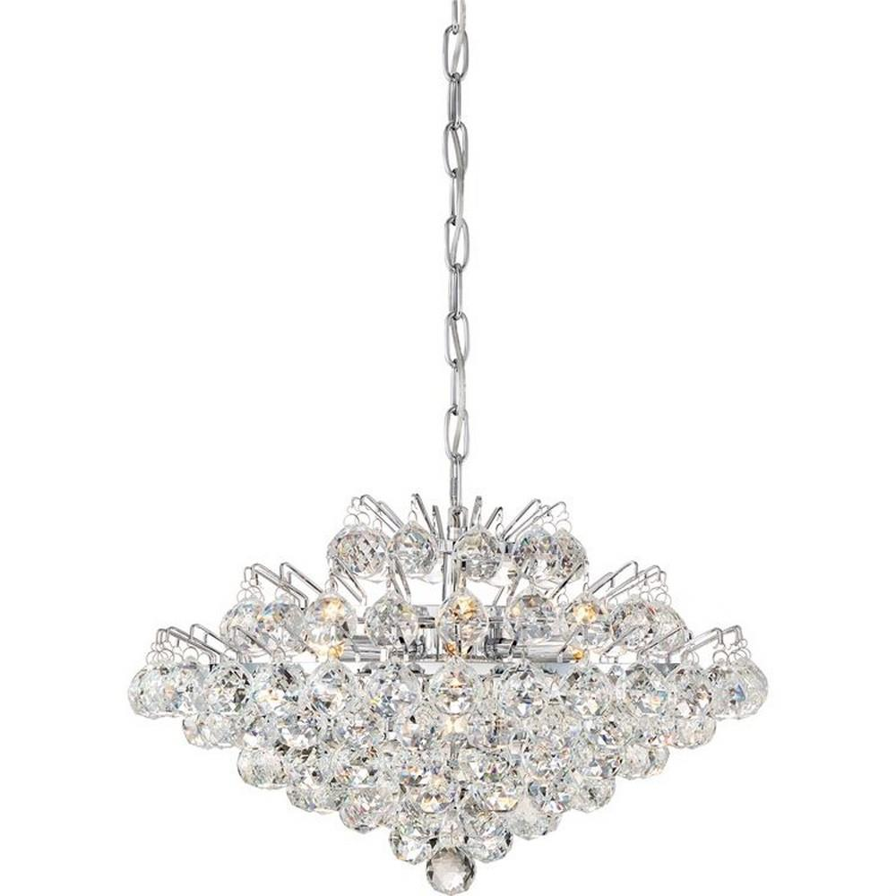 "QUO BRX2820C Bordeaux 7Lt Polished Chrome Pendant 12.25"" H x 19.50"" W x 19.50"" D 40W G9 Xenon lamp included NEWSTOCK AUG 2017"