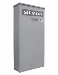 $SIE SL200RDPM ATS 200A N3R W/ DISC & PWR MGR LOAD SHED Built-in 16 circuit priority load center. Main contactor protects essential circuits. Secondary contactor protects non-essential circuits. NEMA 3R / outdoor enclosure. Side-opening hinged cover. Conforms to 2008 NEC sizing standards. 200A, service entrance rated. Dimensions (Inches) 42 x 20 x 7.25. Interrupt rating: 10,000 AIC