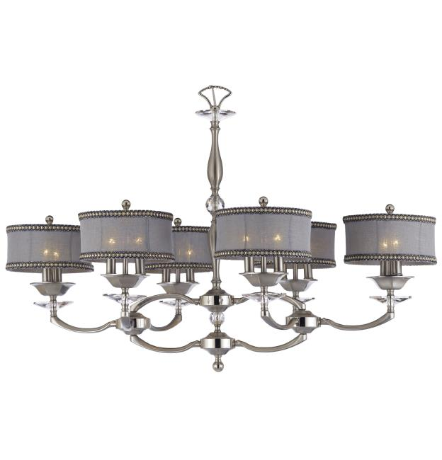 "ABS IL5447-37G/38G-ST-SL Kensington 12Lt Pewter w/Polished Nickel Chandelier 41""D x24""W x 27""H NEWSTOCK MAY 2019"