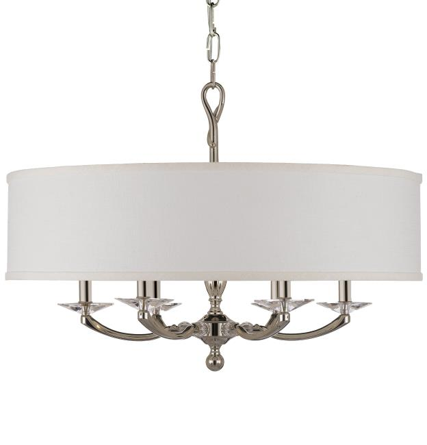 "ABS CH5426-38G-ST-HL Kensington 6Lt Polished Nickel Chandelier 28""D x 20""H NEWSTOCK MAY 2019"