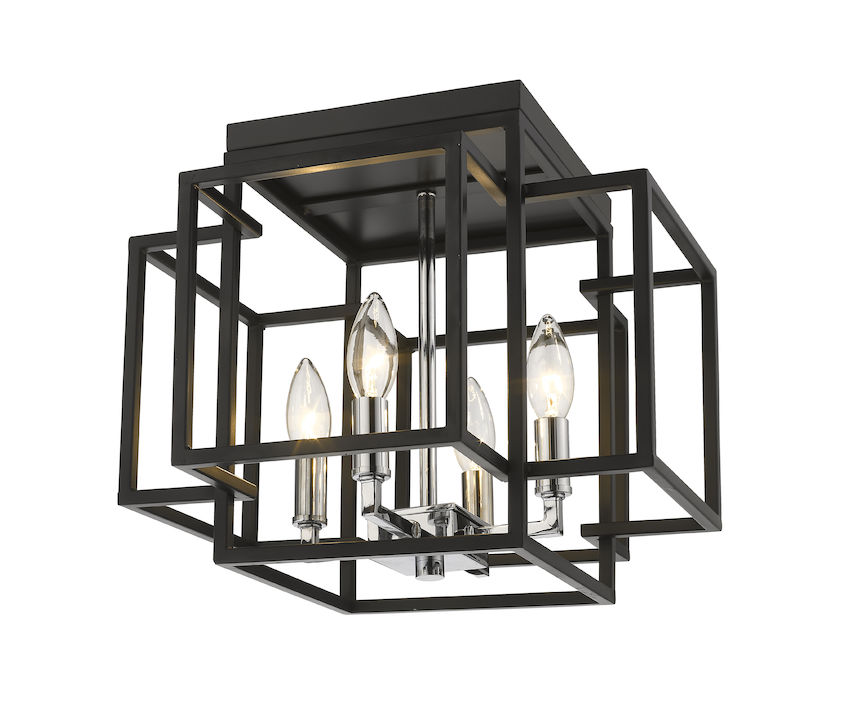 "ZLT 454F-BK-CH Titania 4Lt Black MOUNT 3000K 12""H 60W Candelabra lamp not included NEWSTOCK AUG 2019"
