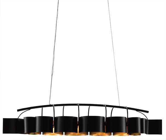 "CRR 9000-0262 Marchfield 8Lt Satin Black/Contemporary Gold Leaf Rectangular Chandelier 24""H x 62.5""W x 24""D 60W Torpedo Tip Candelabra lamp not included NEWSTOCK JUL 2018"