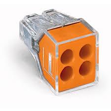 WAGO 773-104/PW05-400 (JAR) 4-CONDUCTOR - ORANGE PUSH WIRE WALL-NUT 18-12GA SOL, 16-12GA STR 400PC/BOX
