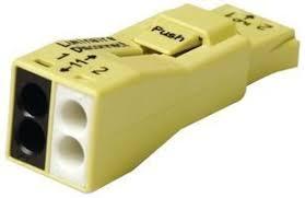 WAGO 873-902 (BOX) 2-POLE - YELLOW PUSH WIRE BALLAST DISCONNECT 25PC/BOX 18-12GA SOL, 16-12GA STR
