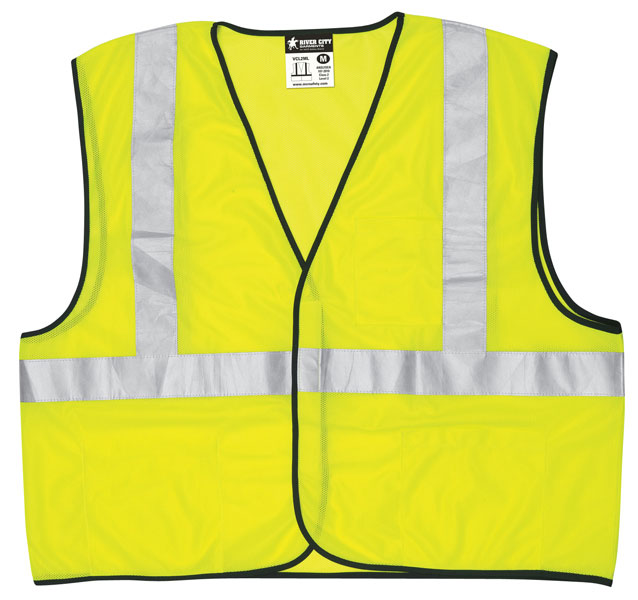 MCR VCL2MLL Safety Vest - Class 2, Value, Mesh, 2 Silver Stripe, Fluor Lime Green