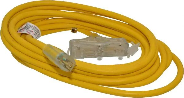 SW 4187SW8802 12/3 25' SJTW TRI-SOURCE EXTENSION YELLOW CORD W/LIGHTED END CS=6